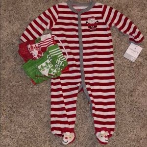 Christmas onesie and 6 pack of Christmas socks.